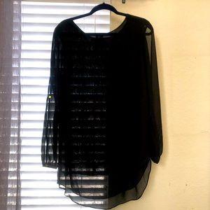 Black Zac & Rachel Sheer Layered Long Sleeve Top